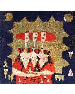 Franco Anselmi, Fiaba ironica 8, acrilico su tela, 70x70 cm