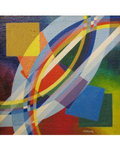 Filippo Scimeca, Dalle cose differenti nasce l'armonia, acrilico e olio su tela, 58x58
