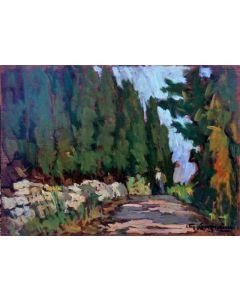 Giuseppe Comparini, Strada con cipressi, olio su tavola, 50x35 cm, 1969