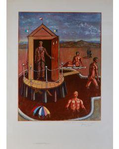 Giorgio De Chirico, Bagni misteriosi, poster firmato, 88x64 cm