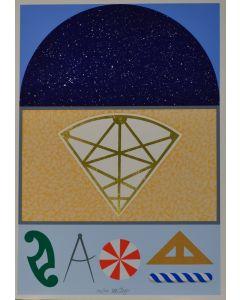 Lucio Del Pezzo, Cielo stellato, serigrafia a 17 colori con foglia d'oro, 35x50 cm