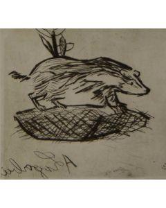 Antonio Ligabue, Senza titolo, puntasecca, 30x32 cm