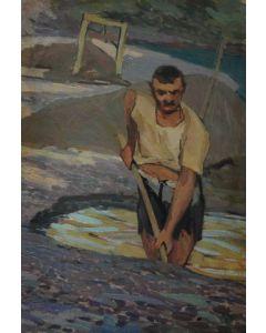 Giovanni Malesci, Renaiolo, olio su tavola, 21,5x32 cm, 1920