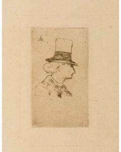 Edouard Manet, Baudelaire de profil en chapeau, acquaforte, 27x20 cm