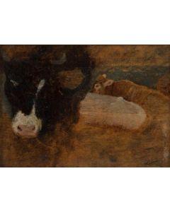 Federico Rossano, Mucche al pascolo nel paesaggio al tramonto, olio su tavola, 17,5x12,5 cm