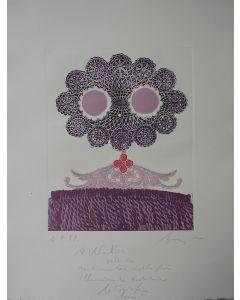 Enrico Baj, La Traviata, acquaforte a colori, 50x40 cm