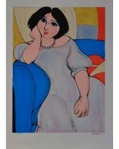 Domenico Cantatore, Giovane donna, Litografia, 70x50 cm, 1981