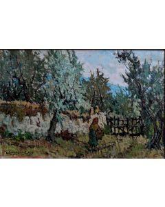 Giuseppe Comparini, Paesaggio con ulivi, olio su tela, 60x40 cm, 1965
