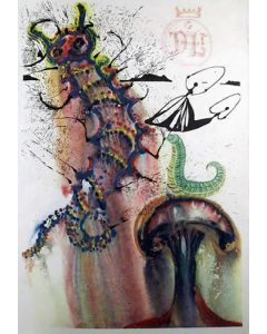 Salvador Dalì, Advice from a caterpillar, litografia, 31x55 cm, tratta da Alice in Wonderlan, 1969