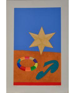 Lucio Del Pezzo, Stella, serigrafia a 30 colori e collage, 40x60 cm