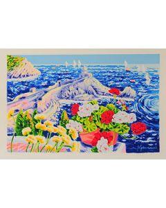 Athos Faccincani, Portovenere ed un momento di poesia, serigrafia a 36 passaggi di colore, 84x54 cm