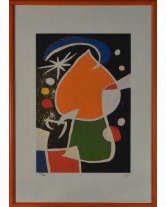 Joan Mirò, Donna nella notte, litografia, 35x50 cm, 1974