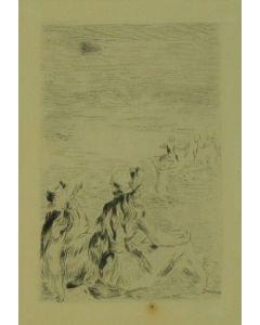 Pierre-Auguste Renoir, Sur la plage à Berneval, acquaforte, 18x14 cm