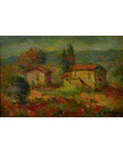 Antonio Sbrana, Silenziosa maremma, olio su tavola, 20x30 cm