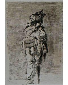 Mosè Bianchi, Pagliaccio, acquaforte e puntasecca, 14,4x19,3 cm