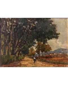 Giuseppe Comparini, Vialetto alle cascine, olio su tela, 50x35 cm, 1967