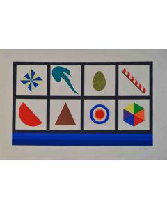Lucio Del Pezzo, Casellario, serigrafia a 19 colori e collage, 60x40 cm