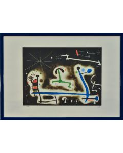 Joan Mirò, Festa di personaggi e uccelli per la notte che sta arrivando, litografia, 35x50 cm, 1968