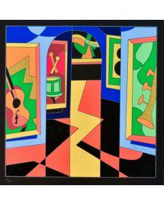 Ugo Nespolo, Musei, serigrafia a 16 colori, 50x50 cm