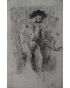 Mosè Bianchi, Studio di nudo maschile, acquaforte e puntasecca, 12,4x18,2 cm