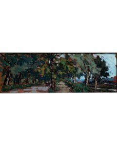 Giuseppe Comparini, Vialetti alle cascine, olio su tela, 50x18, 1965