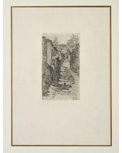 Giovanni Fattori, Bauco presso Roma, acquaforte su zinco, 23x13 cm, tiratura del Centenario, 1925