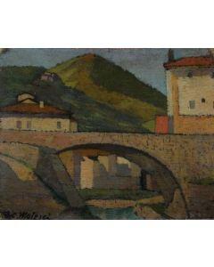 Giovanni Malesci, Antico ponte, olio su tela, 26x21,5, 1910