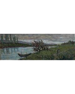 Giuseppe Comparini, Barche sull'Arno, olio su tela, 65x25, 1968