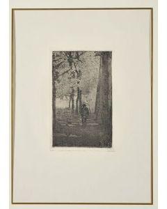 Giovanni Fattori, Viale delle cascine con figure, acquaforte su zinco, 26x16 cm, tiratura del Centenario, 1925