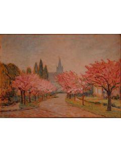Giovanni Malesci, Primavera a Bruxelles, olio su tavola, 48x34 cm, 1953