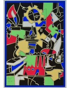 Ugo Nespolo, Tavola sinottica, serigrafia, 50x70 cm