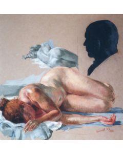 Wolfgang Alexander Kossuth, Anna con autoritratto, pastelli colorati, 99,5x81 cm, 2004