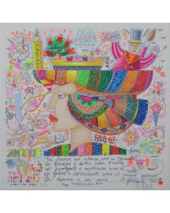 Francesco Musante, Sei breve ed intensa, serigrafia materica, 33x33 cm