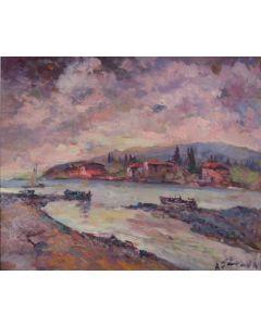 Antonio Sbrana, Serata in maremma sulla costa. Ultime luci, olio su tavola, 49x69 cm
