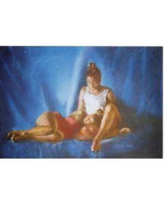 Wolfgang Alexander Kossuth, Bianca e ma', pastelli colorati su carta, 51x70 cm