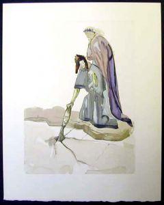 Salvador Dalì, Il traditore della patria, xilografia, 26x33 cm, tratta da La Divina Commedia, 1951-60