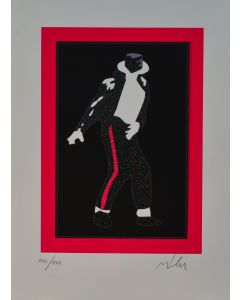 Marco Lodola, Michael Jackson, serigrafia materica, 50x35 cm