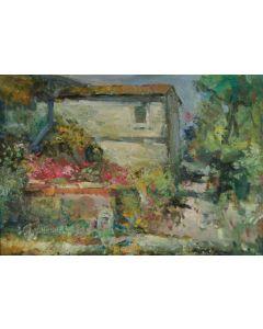 Antonio Sbrana, La fattoria, olio su tavola, 48,5x68,5 cm