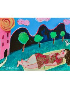 Anna Àntola, Tramonto, tecnica mista su carta, 37x28 cm