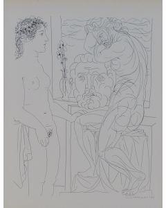 Pablo Picasso, Modèle nu et Sculptures, litografia, 26x20 cm