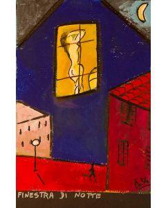 Anna Àntola, Finestra di notte, tecnica mista su carta, 28x38 cm