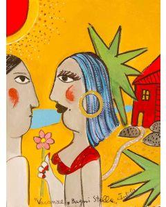 Anna Àntola,Vacanze Bagni Stella, tecnica mista su carta, 28x38 cm