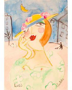 Anna Àntola, Lulù, tecnica mista su carta, 25x35,5 cm