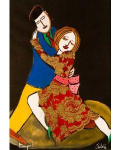 Anna Àntola, Tango, tecnica mista su carta, 35x50 cm