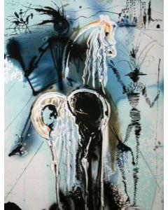 Salvador Dalì, Don Chisciotte, litografia, 36x56 cm tratta da Les Chevaux de Dalì, 1970-72
