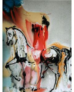 Salvador Dalì, Il Cavaliere cristiano, litografia, 36x56 cm tratta da Les Chevaux de Dalì, 1970-72