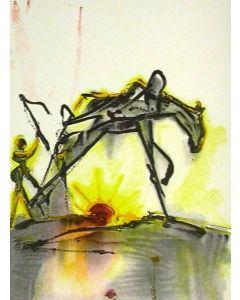Salvador Dalì, Il cavallo da lavoro, litografia, 36x56 cm tratta da Les Chevaux de Dalì, 1970-72