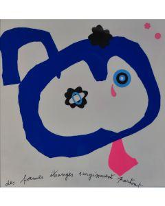 Enrico Baj, Sans voiture, litografia a colori e collage 38x38 cm, 1972