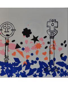Enrico Baj, Composizione, litografia a colori e collage 38x38 cm