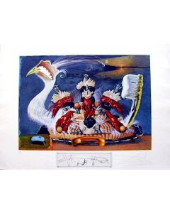Salvador Dalì, Soft Watches Half Asleep, litografia, 75x55 cm tratta da Les Diners de Gala, 1971